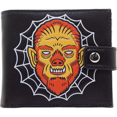 Men's Kustom Kreeps Creepy Wolf Wallet Black Psychobilly Spiderweb Horror