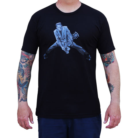Men's Lowbrow Art Rock n Roll Monster T-Shirt Black Frankenstein Guitar