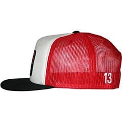 Lucky 13 Brick 3-Tone Traditional Foam Mesh Trucker Cap Black/White/Red Logo