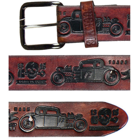 Men's Lucky 13 Coupe 13 Embossed Leather Belt Antiqued Brown Rat Rod Hot Rod