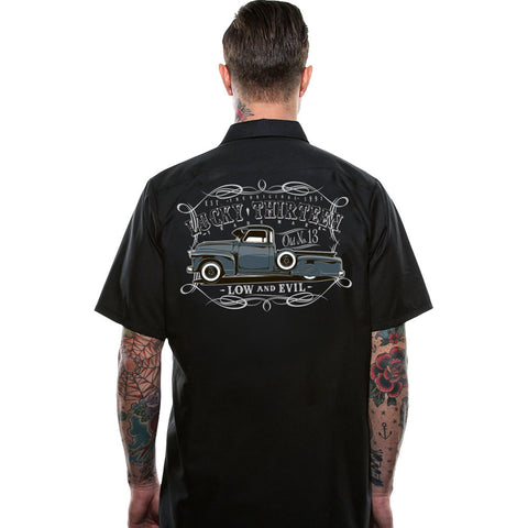Men's Lucky 13 Dragger Short Sleeve Work Shirt Black Kustom Kulture Truck