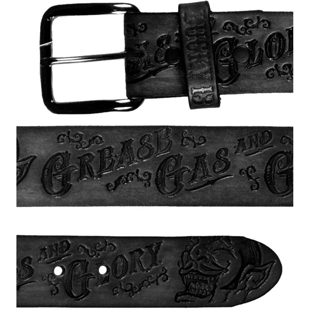 Men's Lucky 13 Grease, Gas And Glory Embossed Leather Belt Black Kustom Kulture