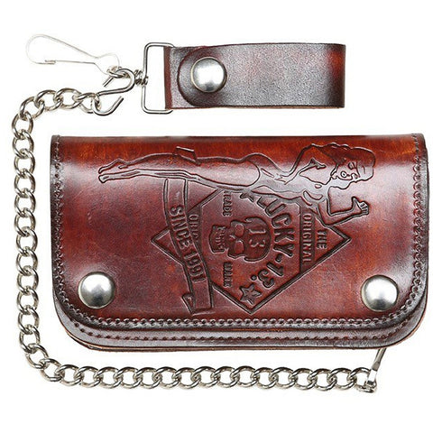 Men's Lucky 13 No Riders Embossed 6 Inch Chain Wallet Brown Pin Up Skull