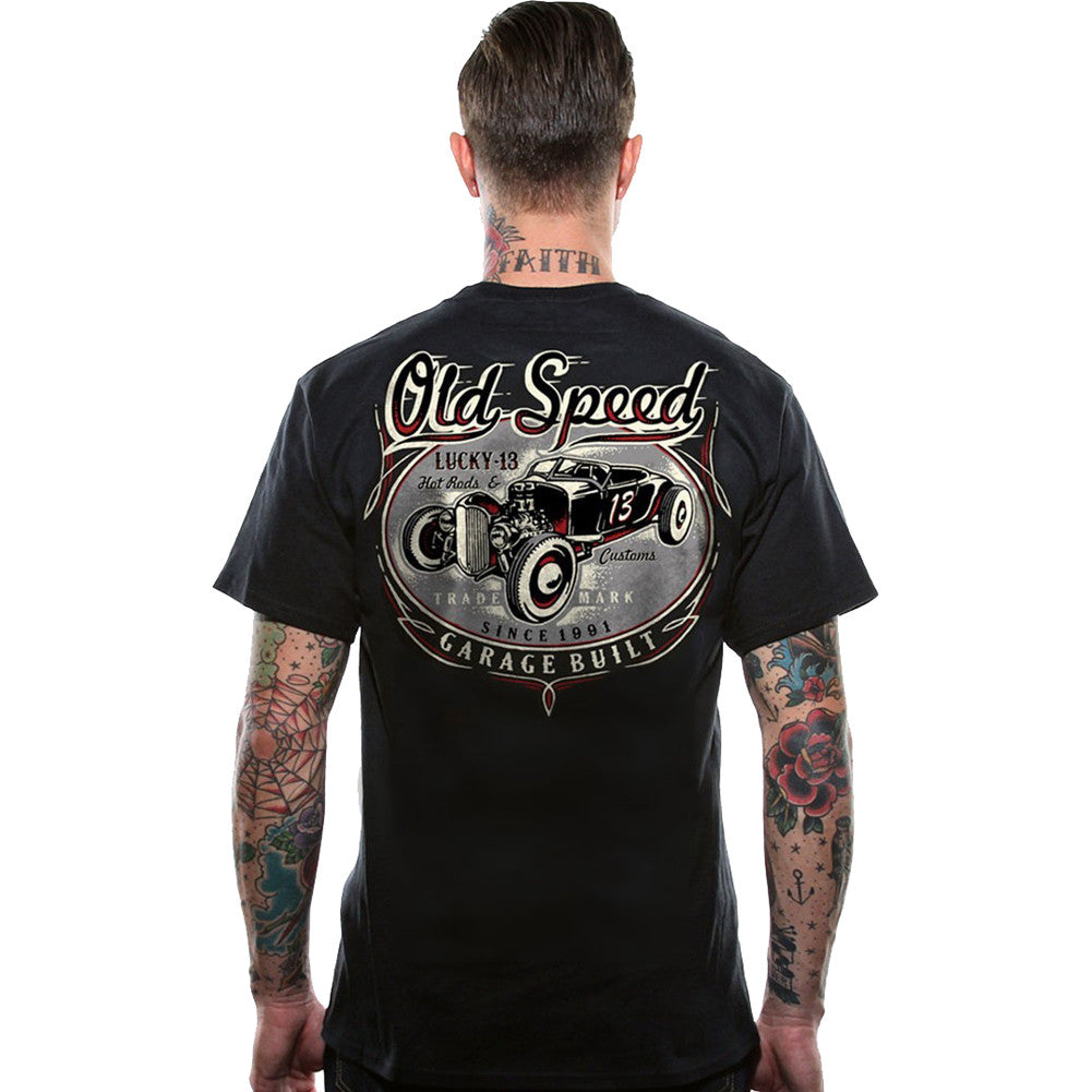 Men's Lucky 13 Old Custom T-Shirt Black Rat Rod Hot Rod Kustom Kulture