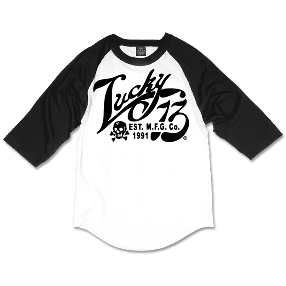 Men's Lucky 13 Old Time 3/4 Sleeve Raglan T-Shirt White/Black Logo