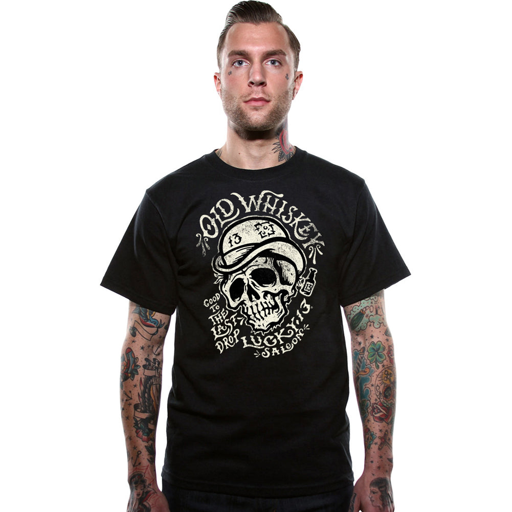 Men's Lucky 13 Old Whiskey Short Sleeve T-Shirt Black Skull Bowler Hat
