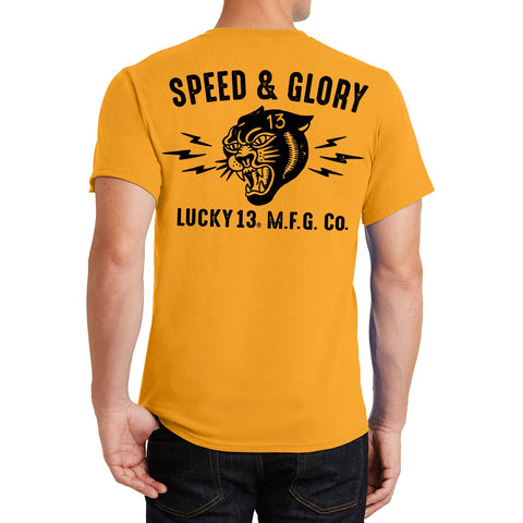 Men's Lucky 13 Panther Head T-Shirt Classic Gold Tattoo