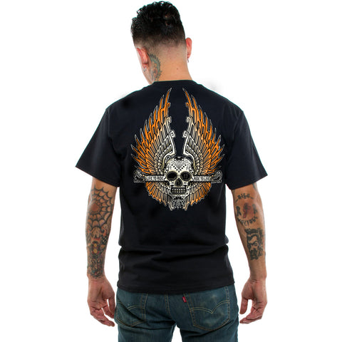 Men's Lucky 13 The Aztec Wings T-Shirt Black Sugar Skull Day of the Dead