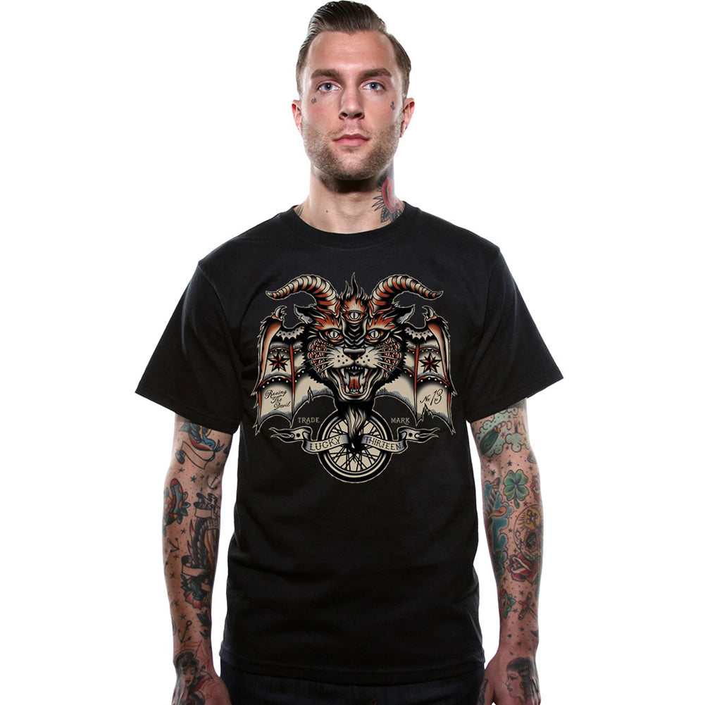 Men's Lucky 13 The Evil Wheel T-Shirt Black Demon Horns Motorcycle Wheel