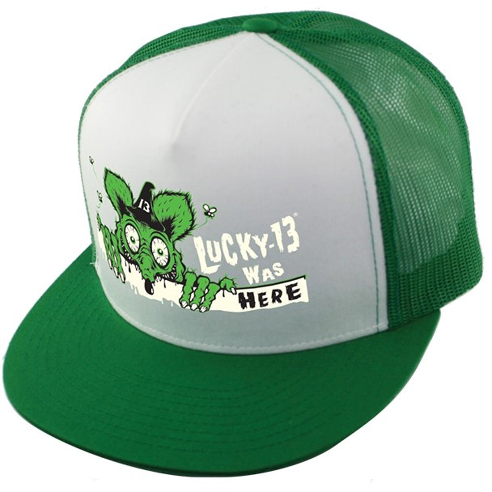 Lucky 13 The Kilroy Two Tone Snapback Hat Green/White Rat Fink Hot Rod