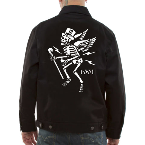 Men's Lucky 13 Mr Skully Jacket Black Winged Skeleton Top Hat Rockabilly