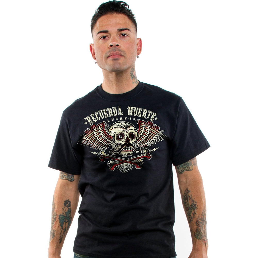 Men's Lucky 13 The Remember T-Shirt Black Sugar Skull Day of the Dead Wings