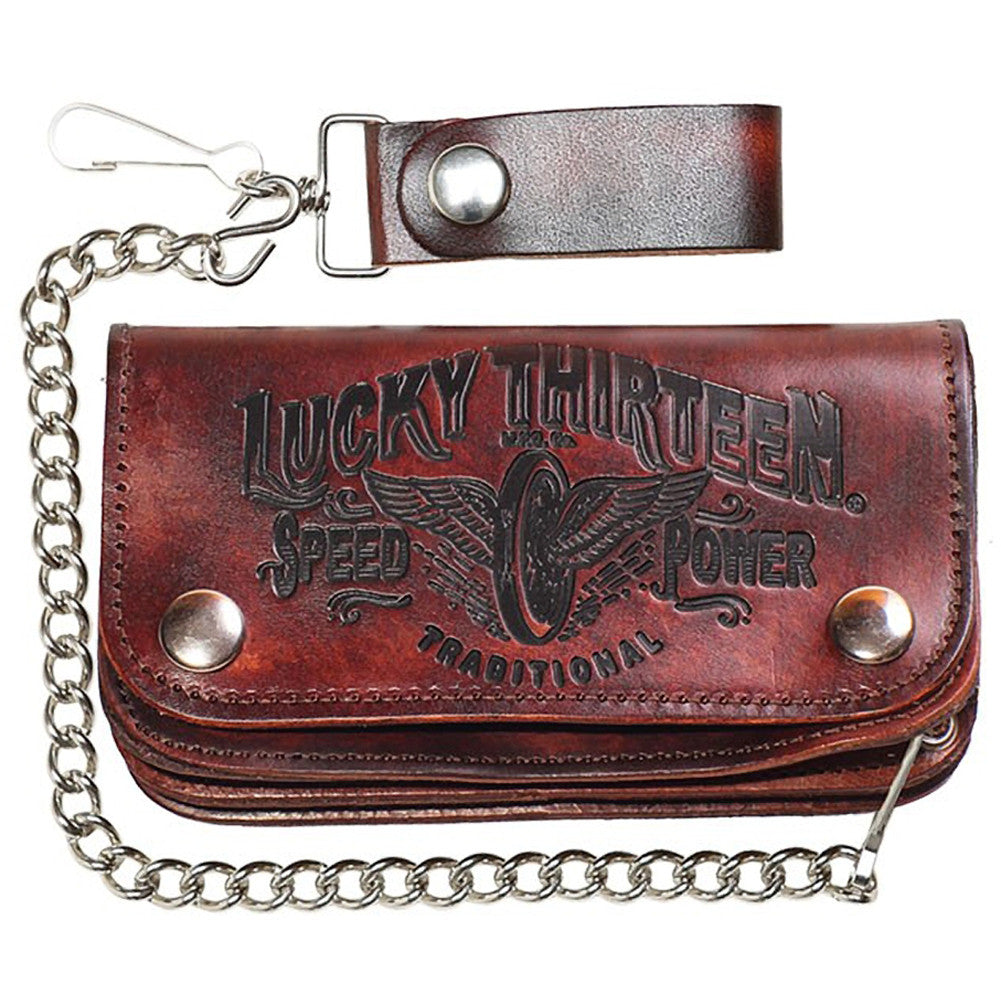 "Men's Lucky 13 Traditional Speed Embossed 6"" Chain Wallet Brown Winged Wheel"