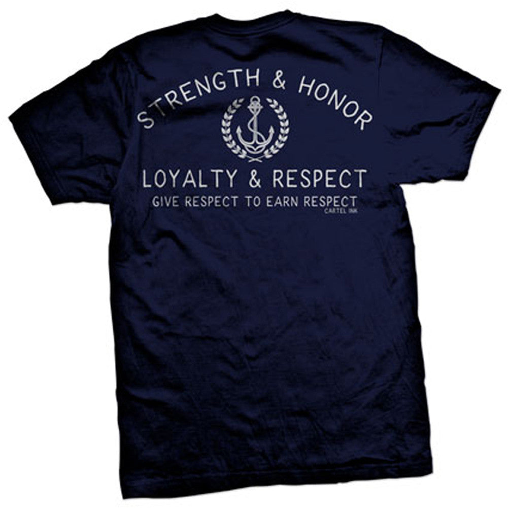 Men's Mens Cartel Ink Strength and Honor T-Shirt Navy Loyalty Respect Nautical