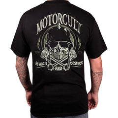 Men's MotorCult Destroy T-Shirt Black Skull Helmet Pistons Motorcycle