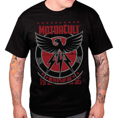 Men's MotorCult Never Say Die T-Shirt Black Hot Rod Car Lover