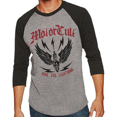 Men's MotorCult Ride The Lightning 3/4 Sleeve Raglan T-Shirt Winged Spark Plug