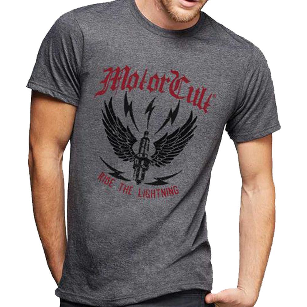 Men's MotorCult Ride The Lightning T-Shirt Grey Winged Spark Plug Car Lover