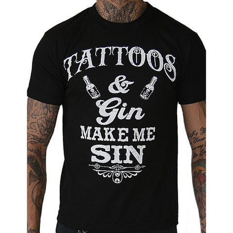 Men's Pinky Star Tattoos and Gin Makes Me Sin T-Shirt Ink Inked Alcohol Drinking