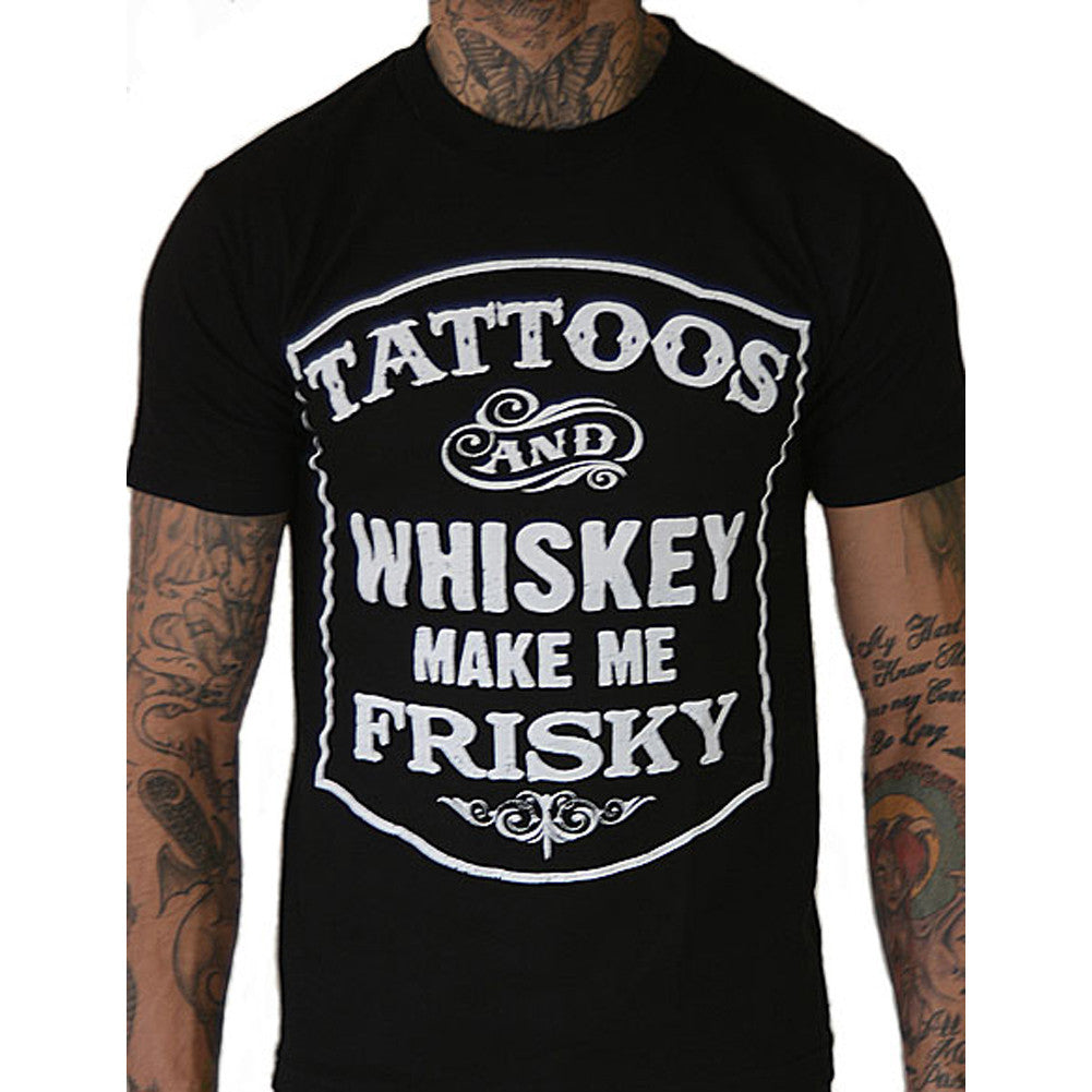 Men's Pinky Star Tattoos and Whiskey Make Me Frisky T-Shirt Ink Inked Alcohol
