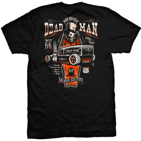 Men's Red Devil Clothing Dead Man T-Shirt Back Rat Rod Coffin Kustom Kulture