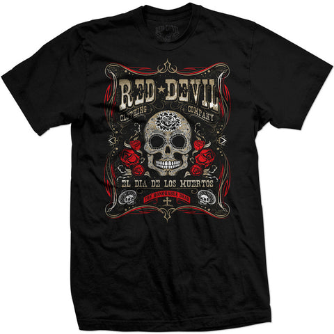 Men's Red Devil Clothing Dia De Los Muertos T-Shirt Day of the Dead Sugar Skull