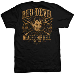 Men's Red Devil Clothing Headed For Hell T-Shirt Black Devil Spade Pitch Forks