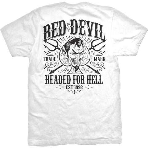 Men's Red Devil Clothing Headed For Hell T-Shirt White Spade Pitchforks
