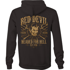 Men's Red Devil Clothing Headed For Hell Zip Hoodie Black Spade Pitchforks