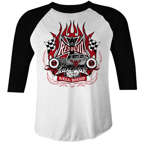 Mens Red Devil Clothing Hell Bound Raglan T-Shirt Rat Rod Hot Rod Kustom Kulture
