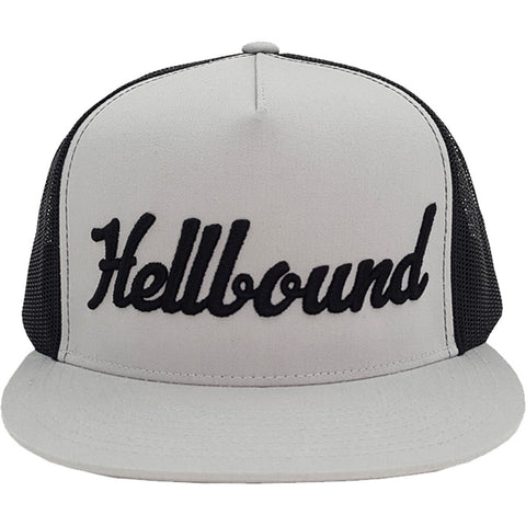 Red Devil Clothing Hellbound Trucker Snapback Hat Grey/Black Flat Bill