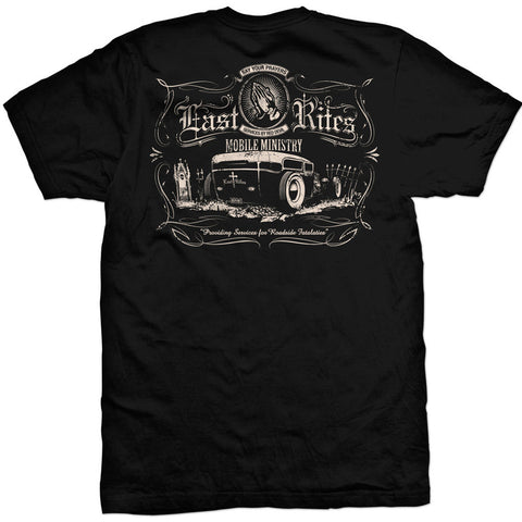 Men's Red Devil Clothing Last Rites T-Shirt Back Print Rat Rod Kustom Kulture