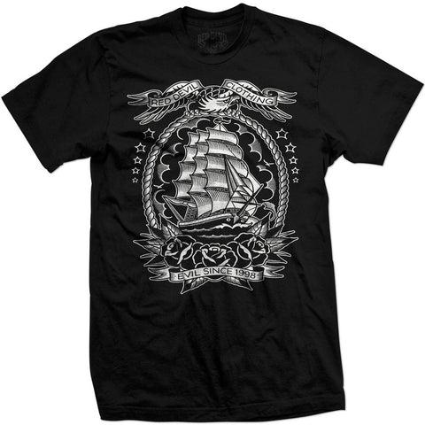 Men's Red Devil Clothing Mariner T-Shirt Black American Traditional Tattoo Ship