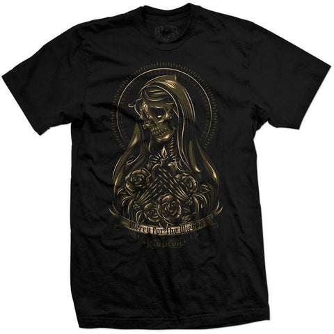 Mens Red Devil Clothing Mercy for the Wicked T-Shirt Black Virgin Mary Guadalupe