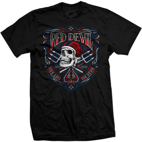Mens Red Devil Clothing Motor Skull T-Shirt Black Motorcycle Helmet Pitch Forks