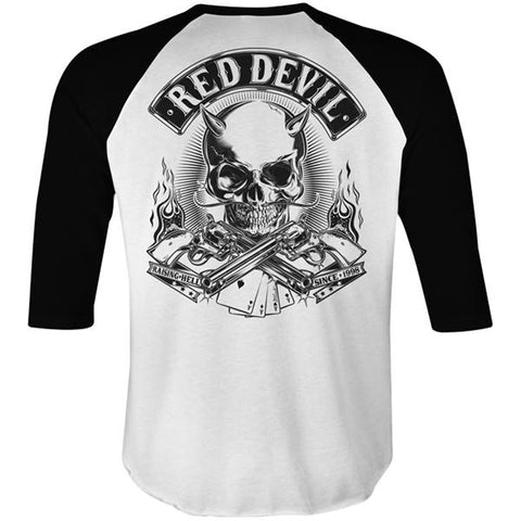 Men's Red Devil Clothing Raising Hell Raglan White Horns Skull Guns
