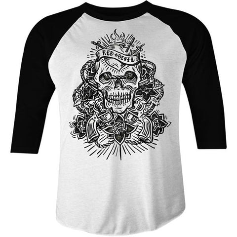 Men's Red Devil Clothing Sacred Death Raglan White Skull Guns Sacred Heart