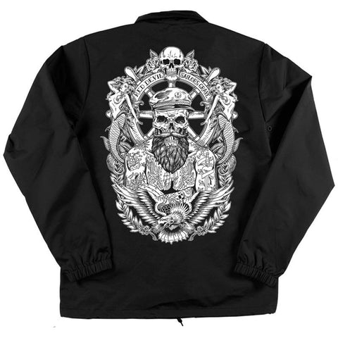 Men's Red Devil Clothing Sailor's Grave Coaches Jacket Black Tattooed Nautical