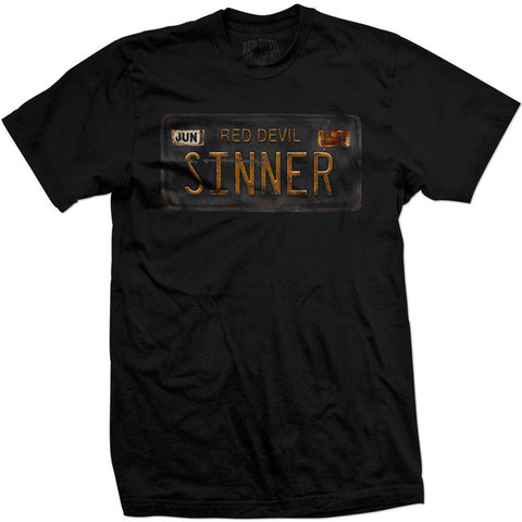 Men's Red Devil Clothing Sinner License Plate T-Shirt Black