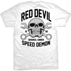 Men's Red Devil Clothing Speed Demon T-Shirt White Skull Wrenches Hot Rod