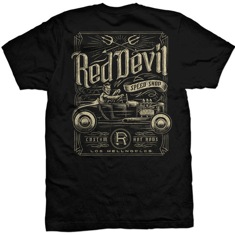 Men's Red Devil Clothing Speed Shop T-Shirt Back Rat Rod Hot Rod Kutom Kulture