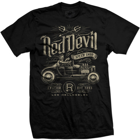 Men's Red Devil Clothing Speed Shop T-Shirt Front Rat Rod Hot Rod Kutom Kulture