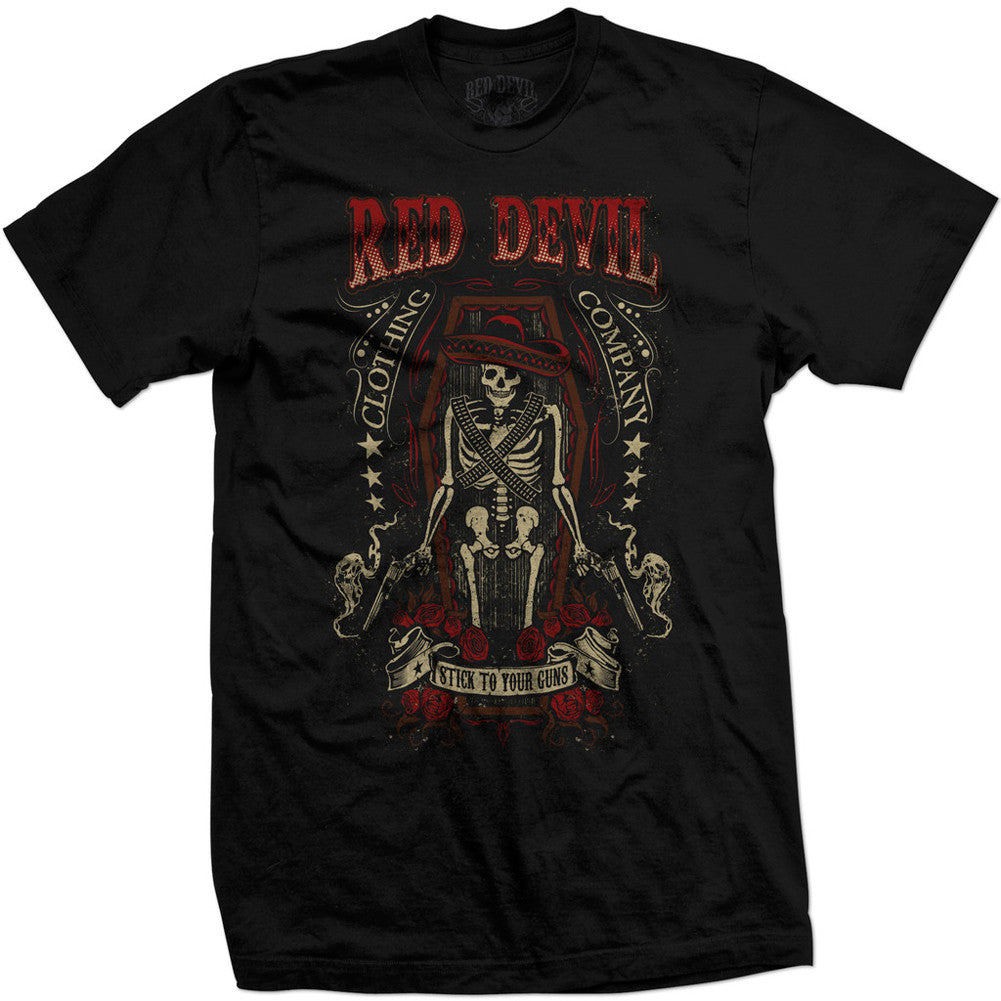 Men's Red Devil Clothing Stick To Your Guns! T-Shirt Skeleton Coffin Sombrero