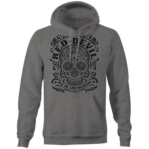 Mens Red Devil Clothing Sugar Skull Hoodie Gunmetal Heather Grey Day of the Dead