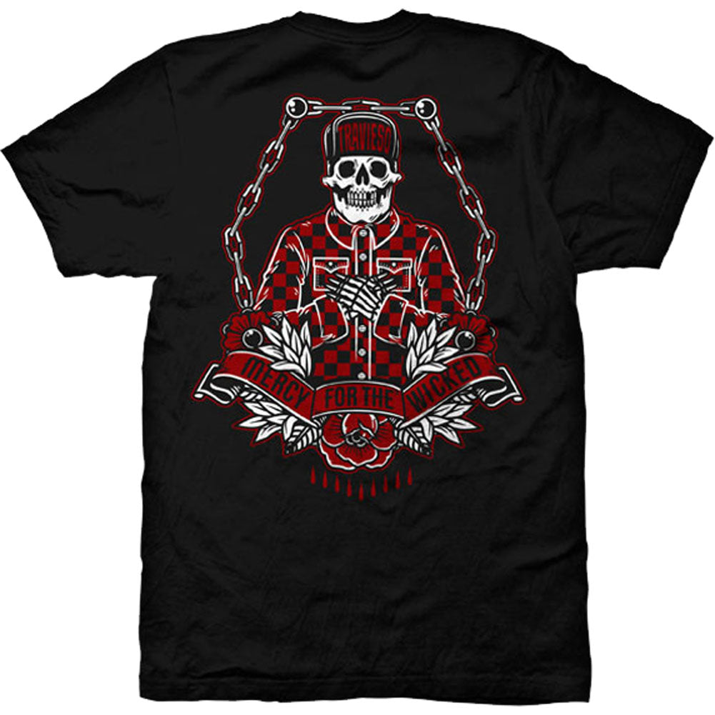 Men's Red Devil Clothing Travieso T-Shirt Black Cholo Skull Skeleton Latino