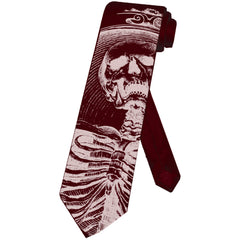 Men's Se7en Deadly Heavens Sinners Necktie Screaming Skeleton Goth