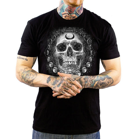 Men's Skygraphx Lone Wolf T-Shirt Black Skull Punk