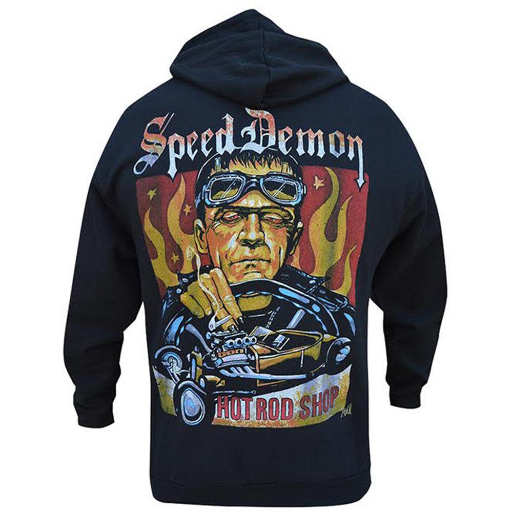 Men's Speed Demon By Mike Bell Hoodie Black Frankenstein Monster Rat Rod Hot Rod