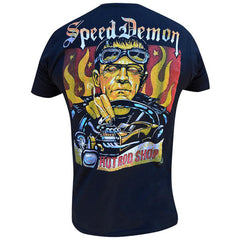 Men's Speed Demon By Mike Bell T-Shirt Black Frankenstein Monster Rat Rod Kustom