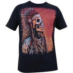 Men's Spirit of a Nation T-Shirt by David Lozeau Skeleton Native Ink Tattoo